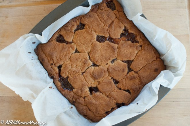 Peanut Butter and Jam Squares in a Pan Lined with Parchment Paper