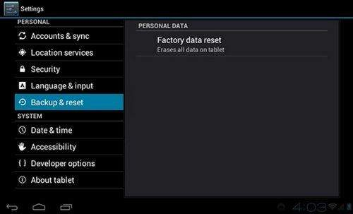 Galaxy S4 Reset Phone Settings