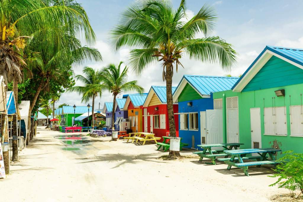 Colourful houses on the tropical island of Barbados in the Carribean - MBBS in Barbados