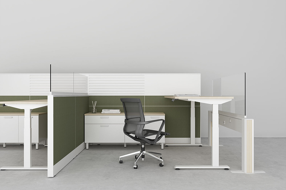 Office desk with protective screens