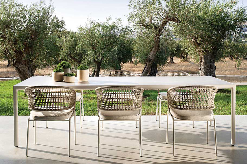 Woven dining chairs