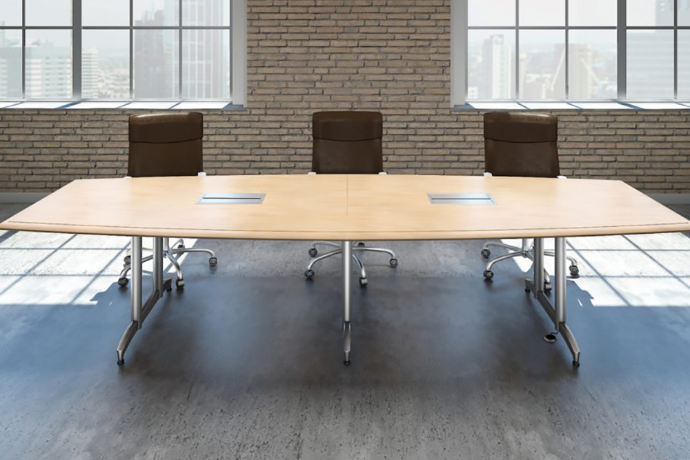 Boat shaped conference room table