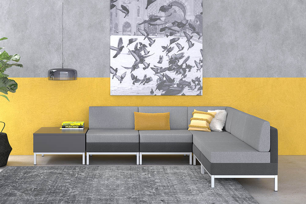 Gray lobby furniture