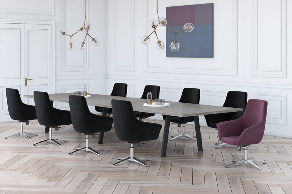 Ten person conference room with club chairs
