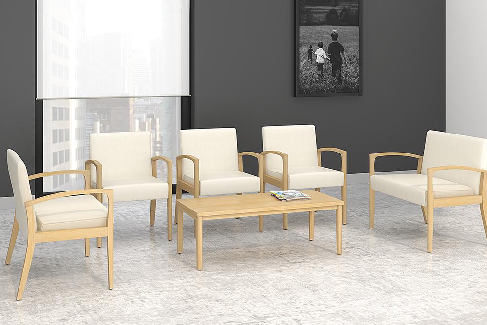 Wood lobby chairs