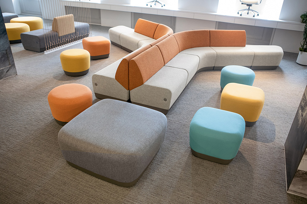 Colorful sectional seating