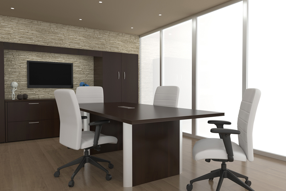 White and mahogany conference room
