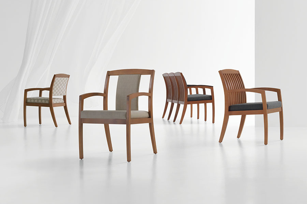 Wood waiting room chair with arms