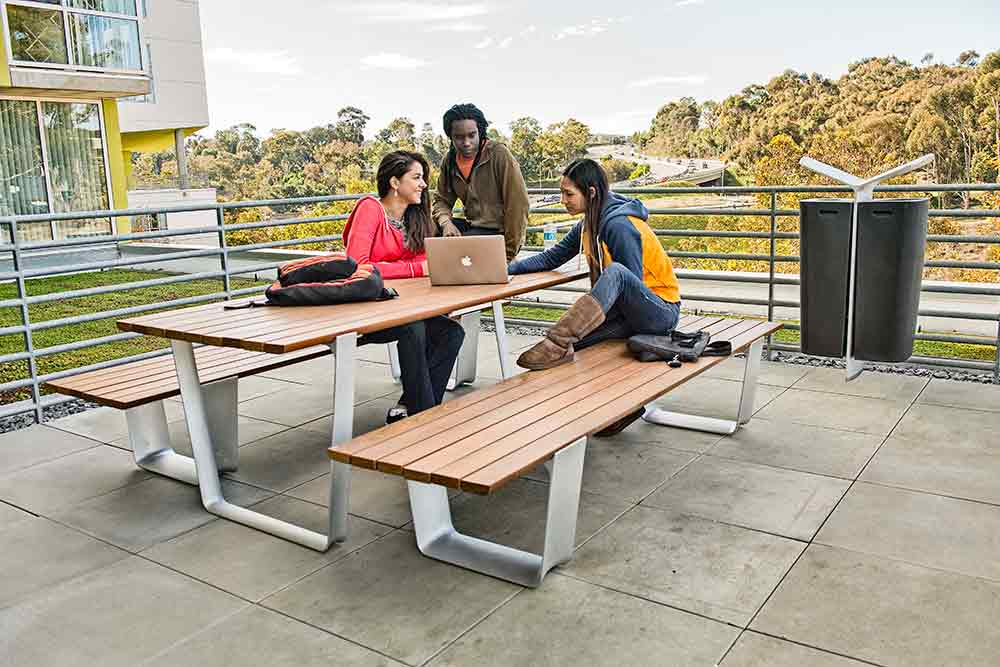 Wood and metal outdoor table