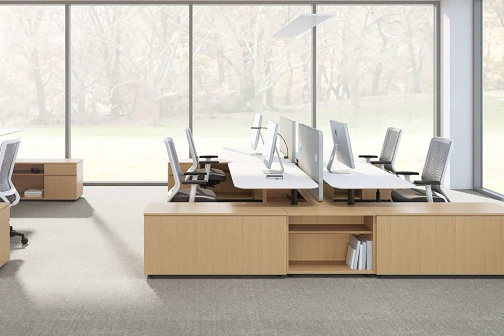 Workstation with curved top