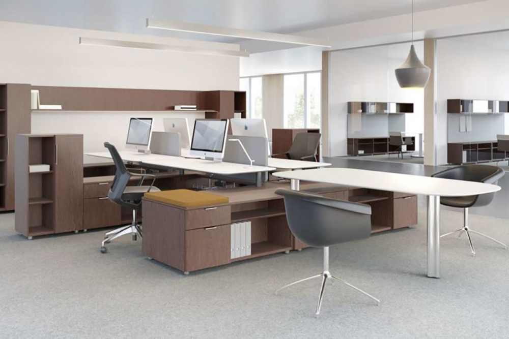 Workstations with conferencing area