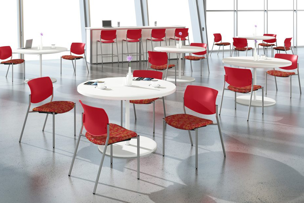 Plastic and fabric cafe chairs
