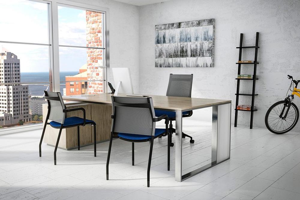 Grey mesh side chair