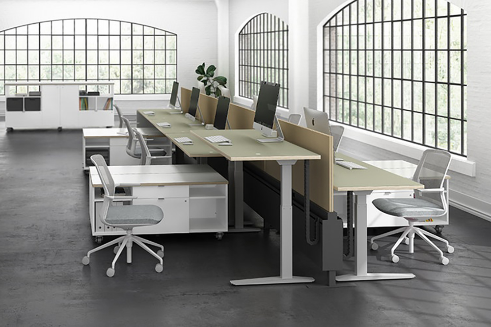 Benching workstations with height adjustable desk