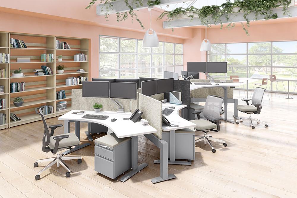 Workstations with orange walls