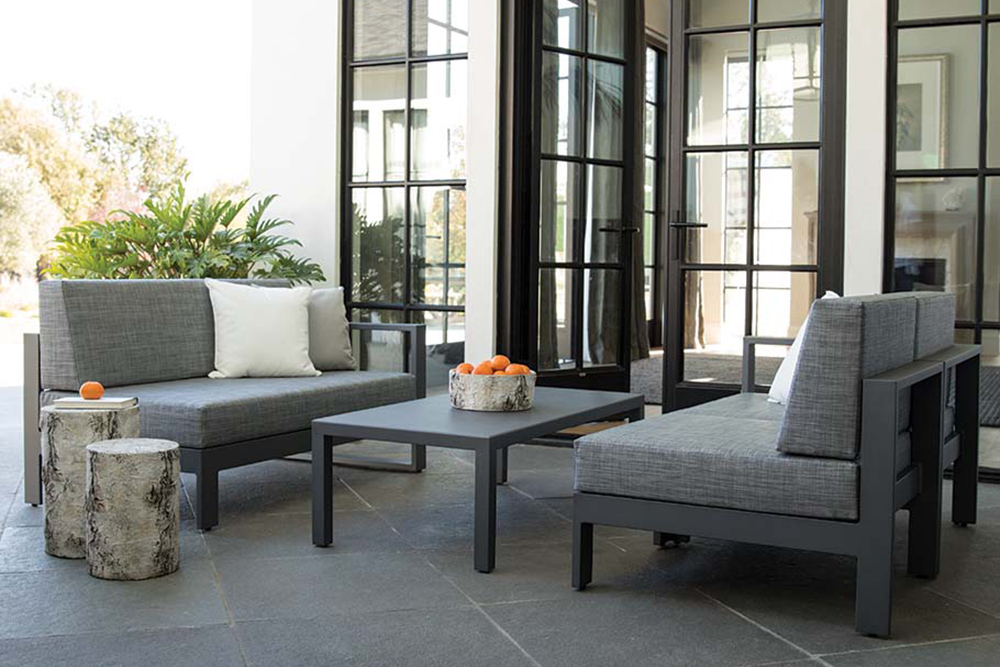 Outdoor table and chairs in grey