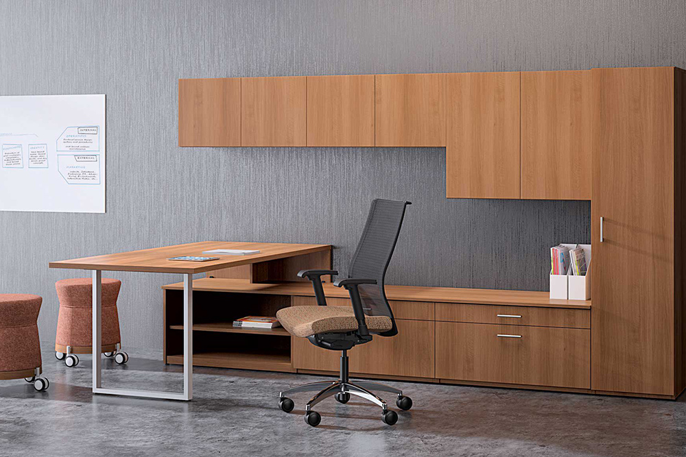 Private office with desk, chair, and storage