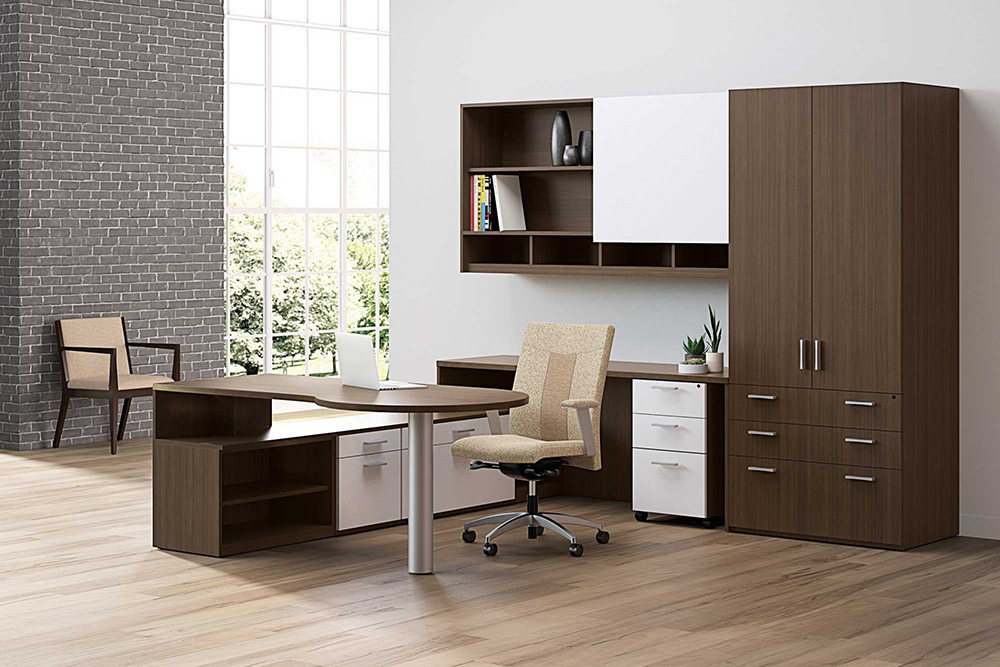 Private office with desk and chairs, case goods