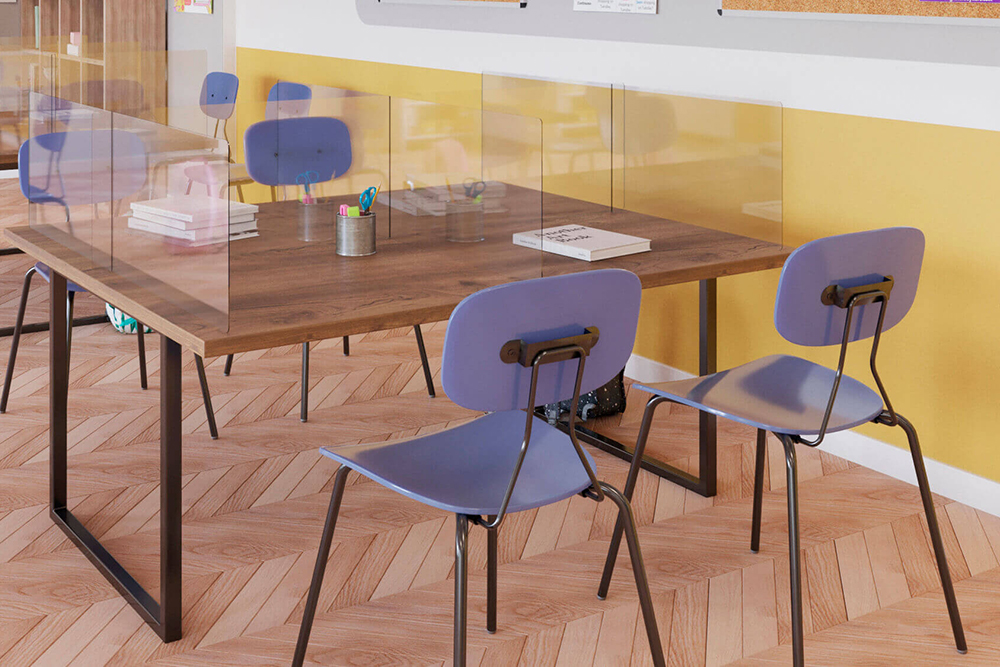 Classroom with purple chairs