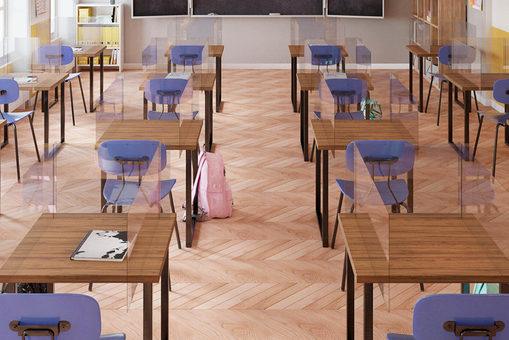 Classroom furniture with backpack