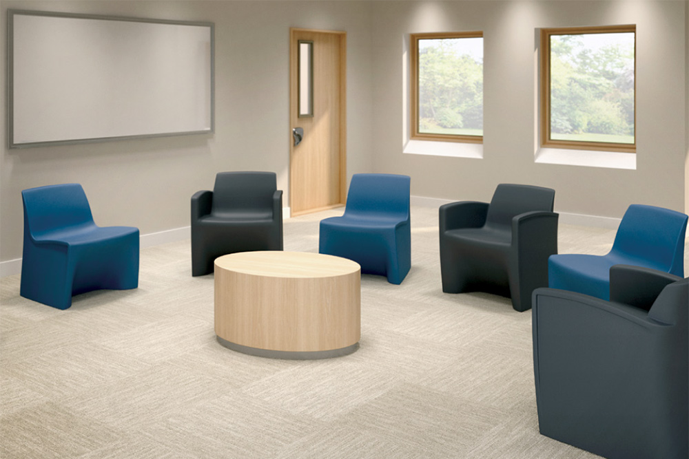 Lobby area chairs in blue and grey