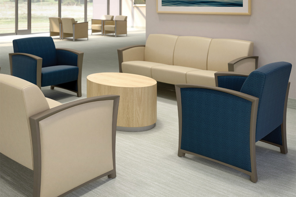 Blue club chairs with white sofa