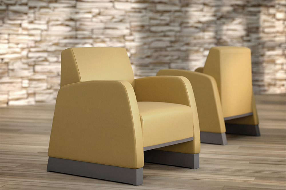 Yellow chairs facing opposite direction
