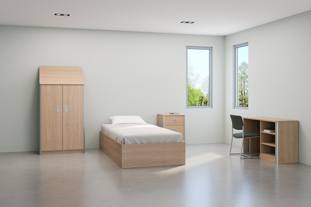 Wood desk in behavioral room