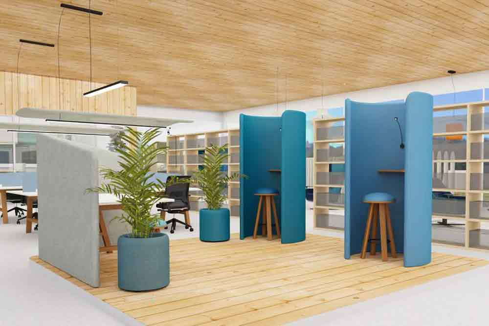 Personal space pod booths in office