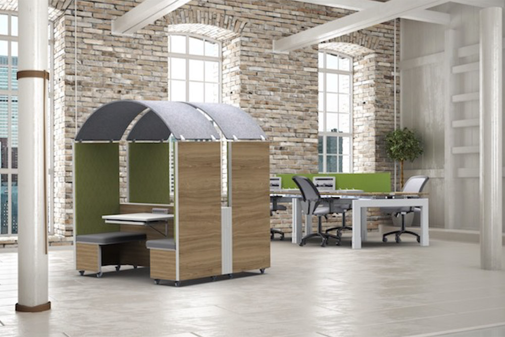 Personal space booth pods in educational library.