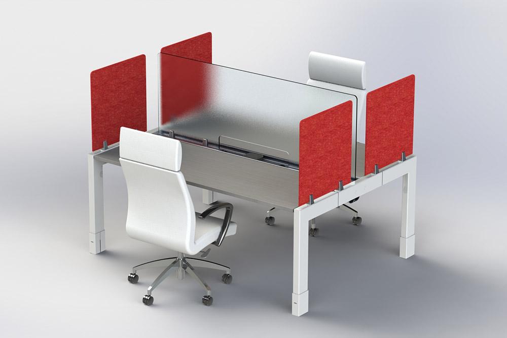 Red panel desk