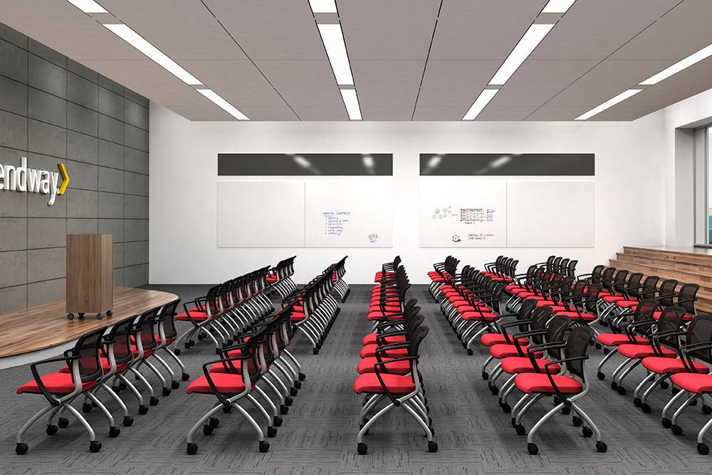 Folding chairs in auditorium
