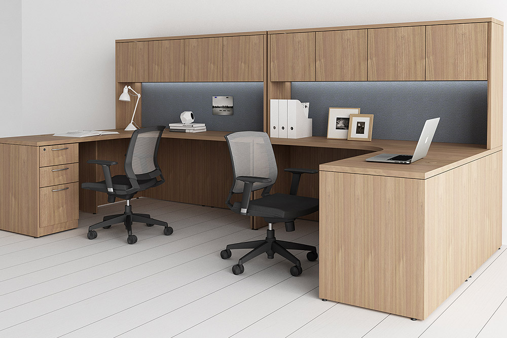 Task chairs, desk and cubicles