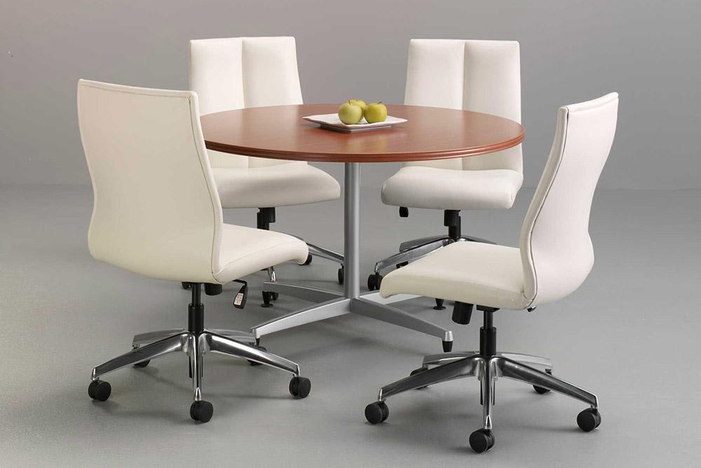 Swivel task chairs around table