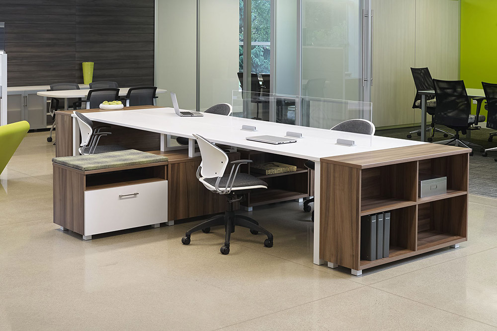 Task chairs at desk in office environment