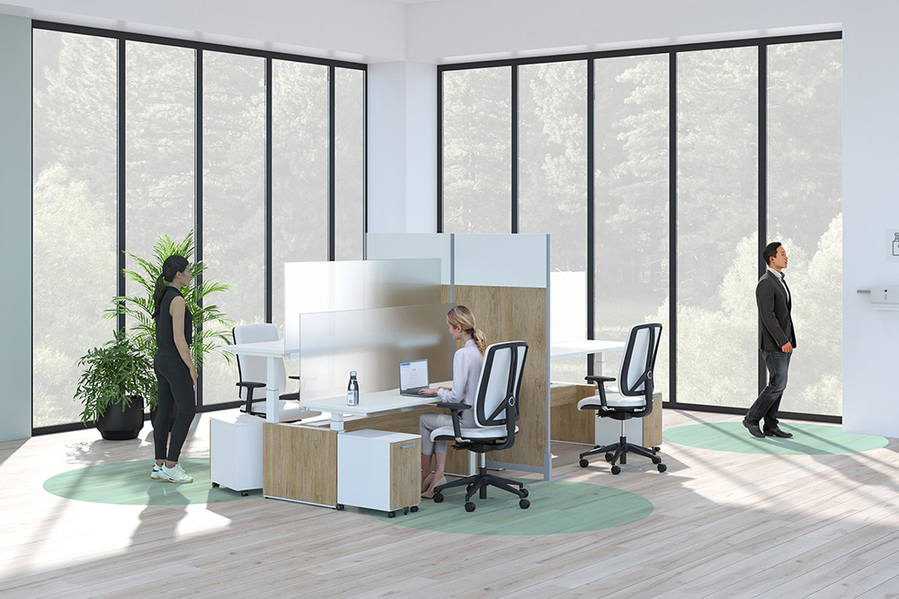 Workstation with protective screens