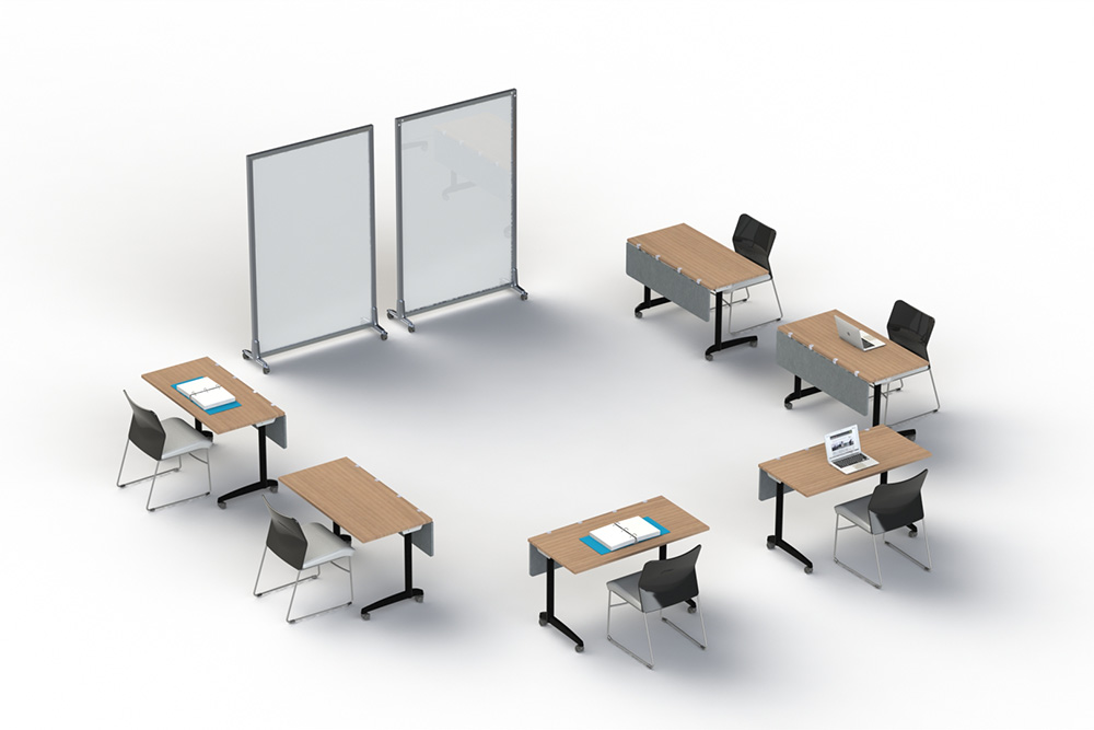 Swiftspace mobile desks and whiteboards in classroom setting