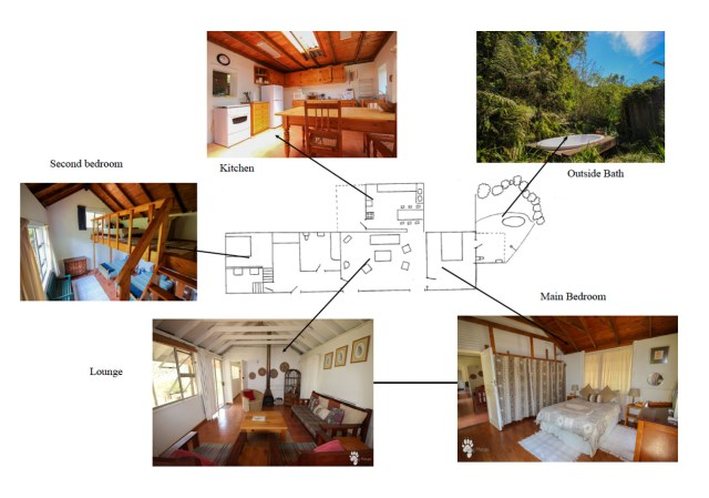 Sketch plan with pictures of Robin Cottage