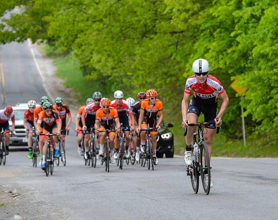 Chris Prendergast (Jet Fuel Coffee) attacks on the climb