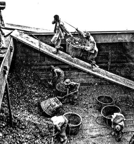 Bill Fitts, photographer. Coaling Ship in the Rain. Shanghai. Summer 1937. Rolleicord.