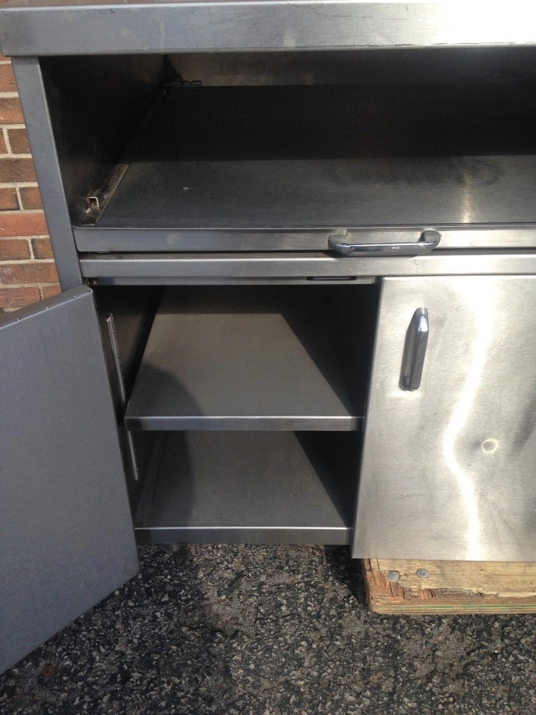 Stainless Steel Table with Slideout Shelves  MB Food