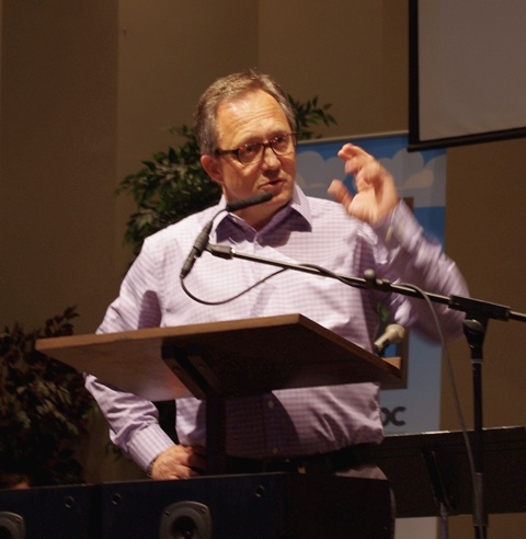 """Former BCMB conference minister Steve Berg paid tribute to Marilyn Hiebert, director of administration, on her retirement, praising her integrity, competence, and """"good calls"""" of judgment. He said her 12 years in the conference office was a """"job incredibly well done."""""""