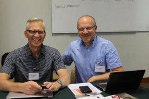 CCMBC executive director Willy Reimer (l) and BTG (Bund Taufgesinnter Gemeinden) representative Heinrich Klassen (r). courtesy of Heinrich Klassen