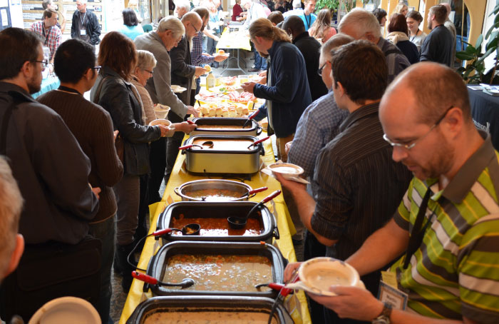 Volunteers from host church River West provided delicious home-cooked food on short notice to sustain the delegates in their hard work of engagement.   Photo: Leslie Precht