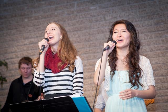 The Canadian Mennonite University Worship Band, under the direction of professor Christine Longhurst, lead Friday night worship. PHOTO: Carson Samson