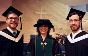 President Cheryl Pauls with President's Medal winners Scott Sawatzky (l) and Justin Rempel (r).