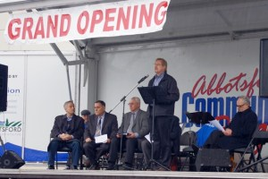 Compared with 2013's sunny June day when the sod was turned for the new MCC Centre in Abbotsford, the official opening on Dec. 6, 2014 was a touch wetter. Still, hundreds turned out to mark the occasion.