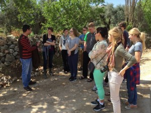 A local tells MBCI students about the lost Palestinian -Arab village of Lifta on the outskirts of Jerusalem.