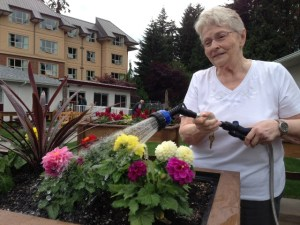Using a senior-friendly watering wand, Dorothy Braun waters dahlias she planted in Tabor Village's therapeutic garden.