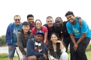 Summerbridge 2015 participants gather in Winnipeg for a week of orientation and training before heading out to work with churches across Canada. Back L-R: Harold Galeano Alarcon, Sanjay Kasakurthy, Thomas Coldwell, Joseph Massaquoi, Sunil Eddu; Middle L-R: Benjamin Lau, Erika Goode; Front L-R: Philemon Nangui, Vidaluz Ortuno Nacho